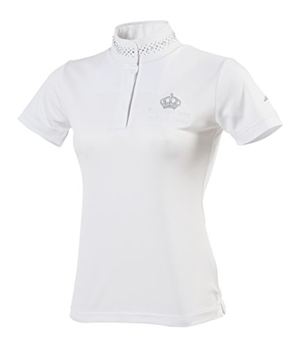 Equi-Theme/Equit'm Damen 987012140 Couronne Short Sleeve Polohemd, White/Silvery Colour Contrasts, Einheitsgröße