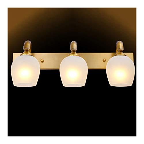 Lámpara Lámpara delantera de espejo Cuarto de baño americano Lámpara de gabinete espejo Lámpara de maquillaje Dormitorio de hotel Lámpara de pared Luces de baño (Color : Three heads)