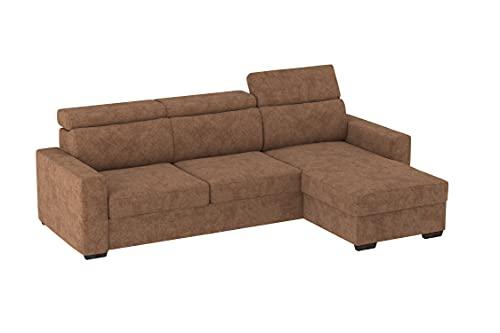 Divano con Chaise Longue Contenitore e letto estraibile Tirana, 230x83x82cm (LxPxA), chaise longue di 154cm. (Tessuto 11 - Colore 4)