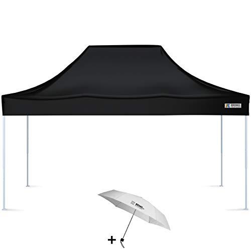 BRIMO Faltpavillon + Freier Regenschirm (3x4,5m, Schwarz)