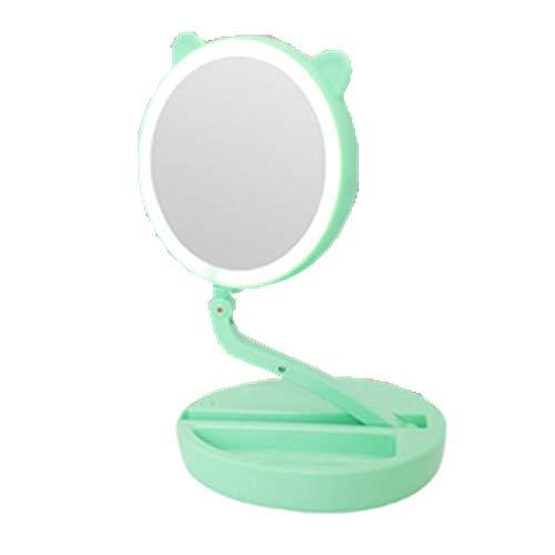 ECOSWAY Pli Portable Coiffeur Type LED Emplir Lumière Maquillage Miroir, 360° Rotatif 1X/7X Magnifiant Double Face Salle de Bain, Chambre à Coucher, Voyage Sac n'importe Où Miroir Cosmétique - Vert