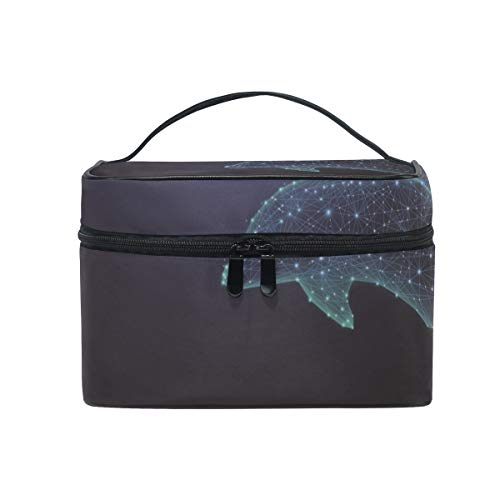 Trousse de maquillage avec fermeture à glissière pour sac cosmétique Embrayage Digital Dolphin à une couche Sac de rangement de voyage portable Sac carré pour femmes dame