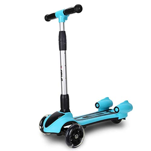 N/Z Home Equipment Spray Music Scooter - 3 Colors Lighted Wheels Spray Lights Sturdy Steering Handlebar Stable Board Adjustable Height Foldable Design (Color : A)