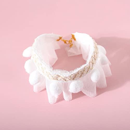 FYLYHWY Cuello De Gato Accesorios For Collar De Mascotas Collars De Gatito De Cachorros con Bolas Ajustables Mascotas Bowtie Regalo (Color : White, Size : M)