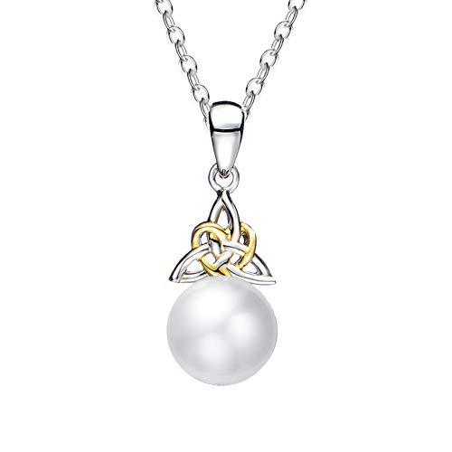 FANCIME Pearl Necklace 9-10mm Genuine Freshwater Pearl in Sterling Silver Birthstone Necklace for Women Celtic Knot Necklace June Birthstone Fine Jewelry for Women