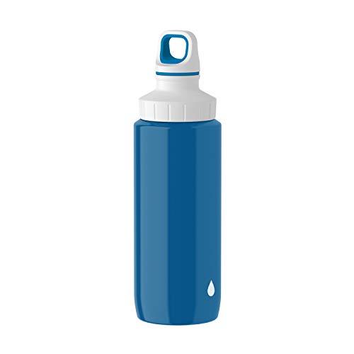 Emsa N3010300 Drink2Go Lightsteel Trinkflasche (Fassungsvermögen: 0,6 Liter, Edelstahl) blau/Drop White