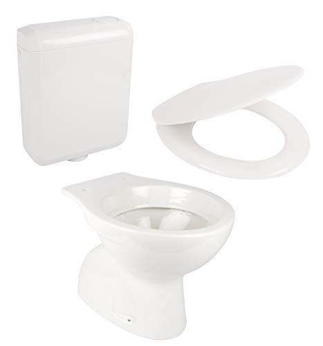 Calmwaters® - Stand-WC mit senkrechtem Abgang im Set mit Toilettendeckel und Spülkasten - 99000184