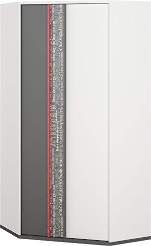 Furniture24 Eckkleiderschrank Philosophy PH01 Eckschrank, Schrank, Jugendzimmerschrank mit 2 Kleiderstangen