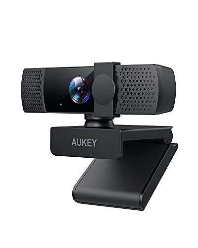 2021 AUKEY webcam 1080p, webcam PC Full HD con cubierta de privacidad, webcam con micrófonos estéreo para videoconferencias y reuniones virtuales, compatible con Windows / Mac / ordenador / portátiles
