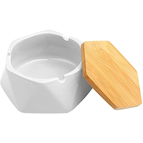 LVLUOKJ Cenicero Exterior Ceramica,Cenicero Ceramica,Ceniceros con Tapa, Cenicero para Exterior, para Jardin,Oficina, Balcón (Color : White)