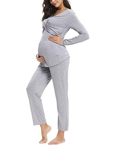 Aibrou Damen Stillpyjama Umstandspyjama Set Stillnachthemd Baumwolle Zweiteilige Still-Schlafanzug (Grau, Small)