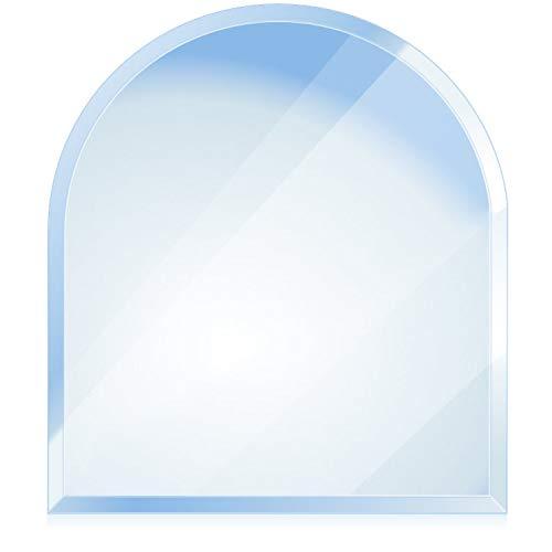 bijon® Funkenschutz-Platte mit Facettenschliff | Glasplatte Kaminofen | Kaminschutz mit ESG Sicherheitsglas | Kamin Zubehör | Kamin Glasplatte | Rundbogen 100 x 100 cm | 6mm