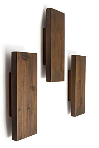 Perchero de pared, perchero de entrada, perchero de pared, de madera, diseño fabricado en Italia, juego de 3 unidades (marrón)