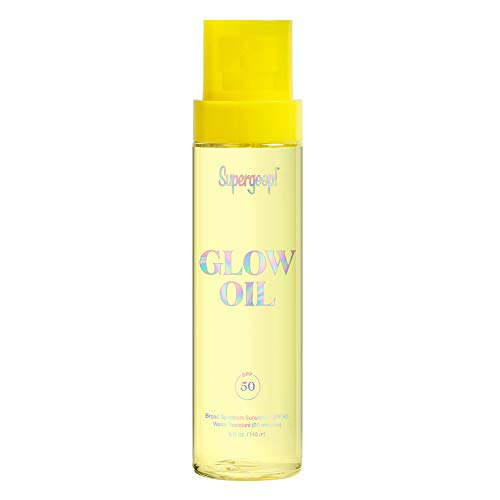 Supergoop! Glow Oil, 5.0 fl oz - SPF 50 PA++++ Hydrating, Nourishing Vitamin E Body Oil + Reef-Safe, Broad Spectrum Sunscreen Protection - With Marigold, Meadowfoam & Grape Seed Extracts