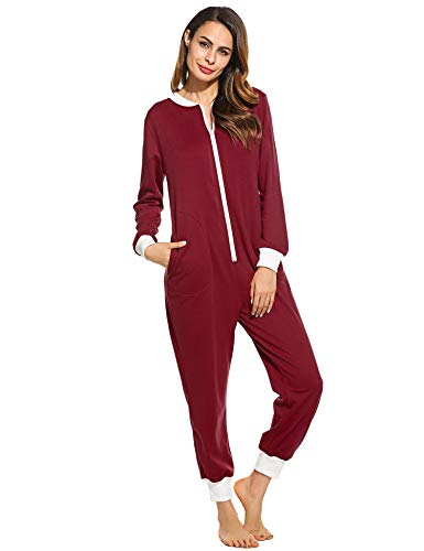 Schlafoverall Damen Jumpsuit Fuchsia XL