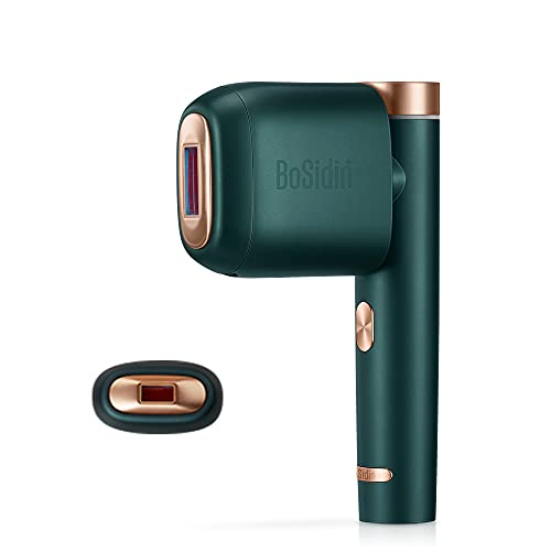 BoSidin IPL Dispositivo per Depilazione Epilatore a luce pulsata indolore permanente con funzione di raffreddamento, incl. 3 allegati, per corpo, viso, zona bikini (Verde)