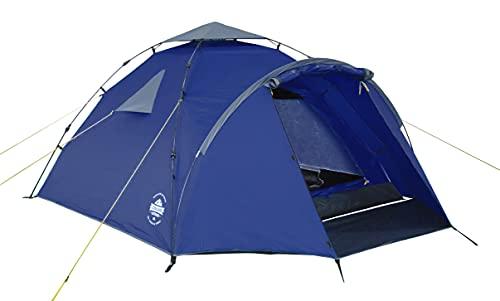 Lumaland Outdoor Pop Up Familienzelt Wurfzelt 3 Personen Zelt Camping Festival etc. 220 x 220 x 130 robust Blau