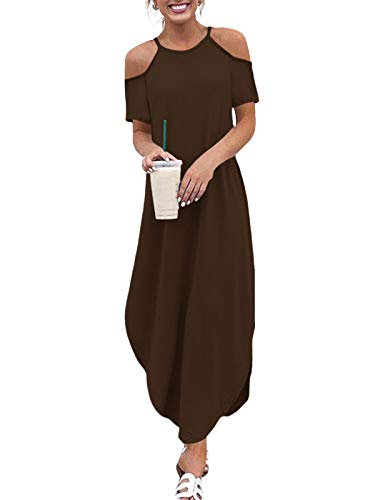 YOINS Sommerkleid Damen Lang Sexy Oversize Ärmellos Strandkleid Casual Partykleid Elegant Lose Kleid HoheTaille Kurzarm-Kaffee M