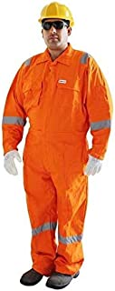 Vaultex-Full Cotton Orange Color Coverall With Reflective Tape - Small