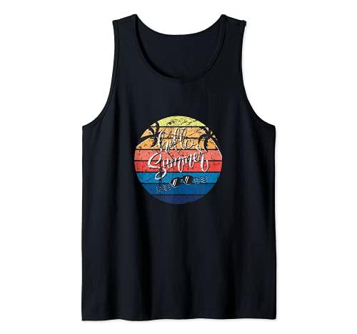 Hello Summer Design Outfit Gift Summer Beach Holiday Fun Camiseta sin Mangas