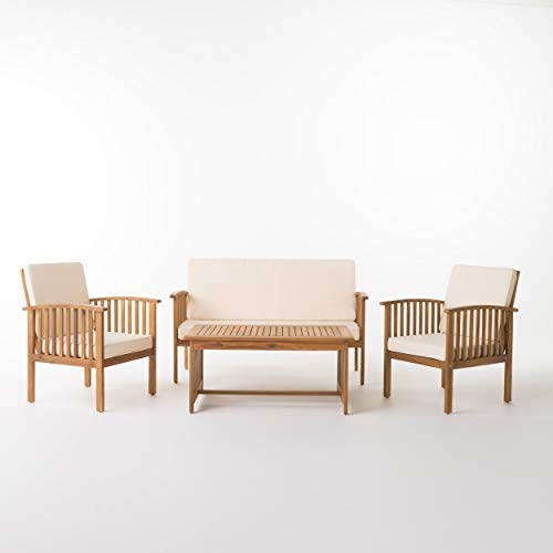 Christopher Knight Home Carolina Outdoor Acacia Sofa Set, 4-Pcs Set, Brown Patina + Cream Cushion