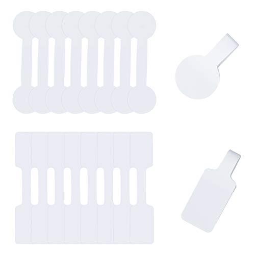 FINGERINSPIRE - 800 Pegatinas en Blanco para joyería, 2 Formas, Etiquetas de joyería, Pegatinas de Papel para exhibición de joyería, rectángulo y Forma de Barra, Color Blanco
