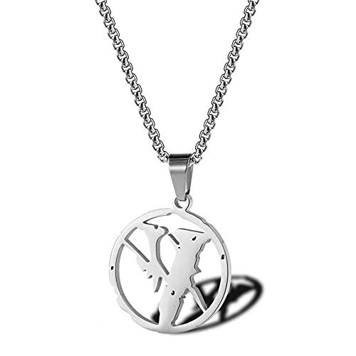 Collar VL Hombres Hiphop Rock Street Culture Collar de acero inoxidable de titanio Cadena Moda Joyería para hombres de moda -Placa de plata_40 cm