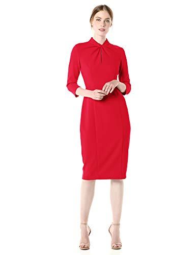 Donna Morgan Women's Stretch Crepe 3/4 Sleeve Twisted Neckline Sheath Dress, Red, 6