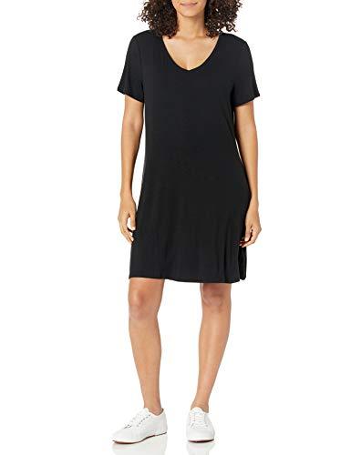 Amazon Essentials Damen Short-sleeve V-neck Swing Kleid, schwarz, XL