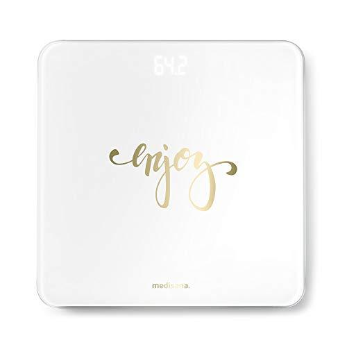 Medisana PS 438 balanza personal digital de hasta 180 kg, báscula de baño de vidrio, pantalla LED invisible, báscula con motivos, activación