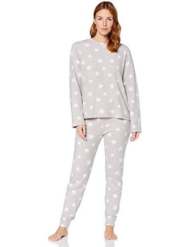 Iris & Lilly Pijama de Forro Polar Mujer, Gris (estrella gris), S, Label: S