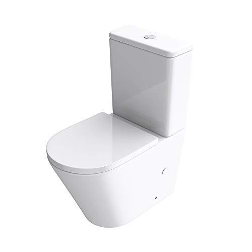 Mai & Mai Inodoro de pie de cerámica S108T sin reborde en blanco 36x60,5x82,5cm, inodoro de piso con cisterna