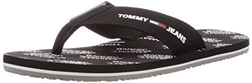 Tommy Hilfiger Tommy Jeans Print Beach Sandal, Chanclas Hombre, Negro (Black Bds), 43 EU