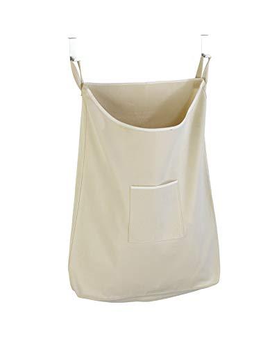 Wenko 62107100 Canguro - Cesto para la ropa sucia con la parte superior de la puerta, color beige, algodón, 52 x 10 x 81 cm