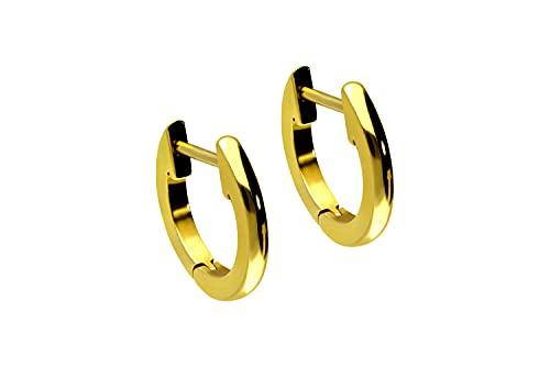 Pendientes de acero quirúrgico, anillo ligeramente grueso color oro amarillo