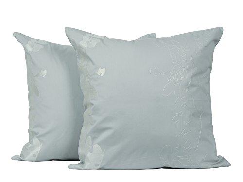 LJ Home Fashions Allure algodón 18'x18 Hoja de Bordado Cojines de Manta Decorativa (2Unidades), en Color Gris y Blanco