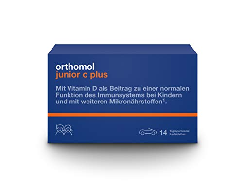 Orthomol Junior C Plus 14 Chewable Tablets for Children, Vitamins and Trace Elements, Dietary Supplement for The Immune System