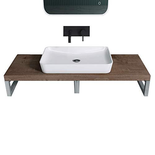 doporro Waschbeckenauflage 45x80cm Waschtischkonsole in Eiche für Waschschalen inkl. Konsolenhalterung