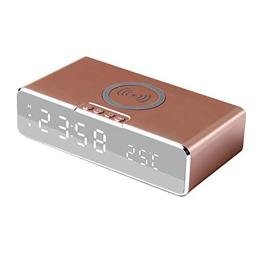 Reloj Digital Eléctrico LED, 3 Alarmas, Termómetro Reloj Reloj Espejo HD Interruptor De 12/24 Horas Pantalla De Tiempo/Temperatura con Cargador Inalámbrico para Teléfono,Oro