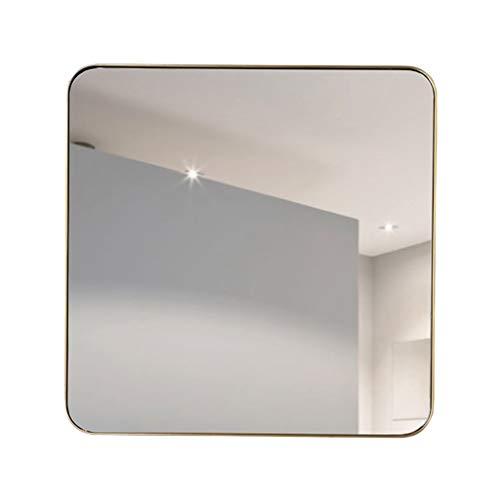 YXYH Casa Espejo Pared Redondo Moderno Marco Metal Latón con Perforado Agujeros Cromo Gorra Fijación Oro Moderno for Ba?o Sala Estar Salón Mirror