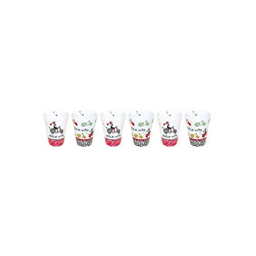 Incidence Paris 28007 MUG Expresso - Dolce Vita (Set de 6), Porcelaine, Blanc, 6x6x6,4 cm