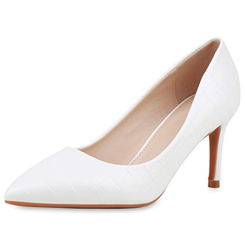 SCARPE VITA Damen Spitze Pumps Stiletto Mid Heels Kroko-Optik Schuhe Business Absatzschuhe Elegante Abendschuhe 189649 Weiss Kroko 41