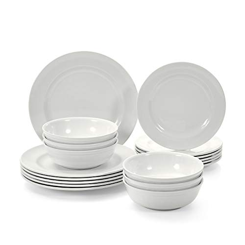 TP Dinnerware Sets Service for 6, Melamine Dishes Set with Bowls and Salad Dinner Plates, 18-Piece Dining Tableware, Ivory