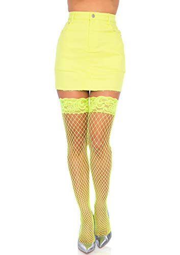 Leg Avenue Women's Stay-up Lace Top Industrial Fishnet Thigh Highs, Neon Yellow, One Size