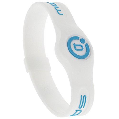 Magnetisches Therapie-Armband aus Silikon von Bioflow, in verschiedenen Farben, White/Neon Blue, M (19 cm)