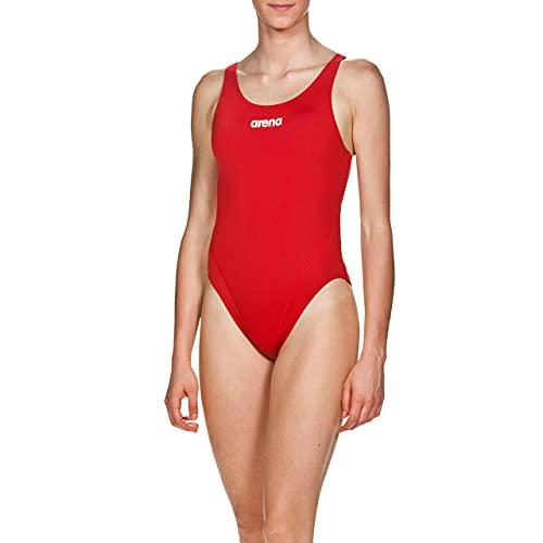 ARENA Solid Swim Tech High Costume Intero Donna, Costume da Bagno Sportivo in Tessuto MaxLife con Massima Resistenza al Cloro e Protezione UV UPF 50+, 44 , Rosso (Red-White)