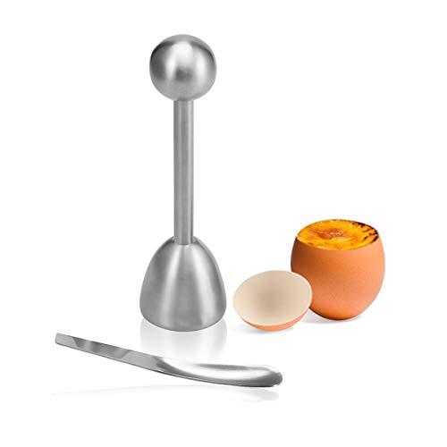 LANMU Eierköpfer, Edelstahl Eieröffner Eier Cutter Küchenhelfer mit Eierlöffel für Weiches Gekochtes Ei zum Frühstück