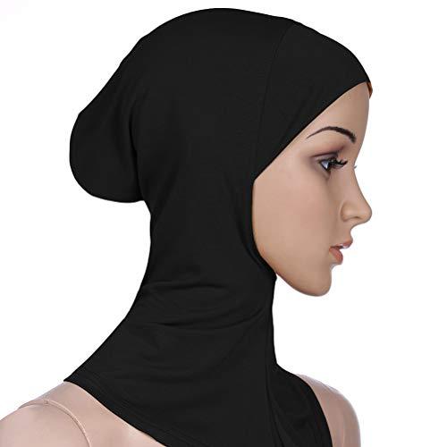BESTOYARD Frauen Einstellbare Muslim Hijab Neck Cover Schal Haube Innere Hijab Cap Full Cover Bone Lady Islamische Muslimische Kopfbedeckung (35x24 cm, Schwarz)