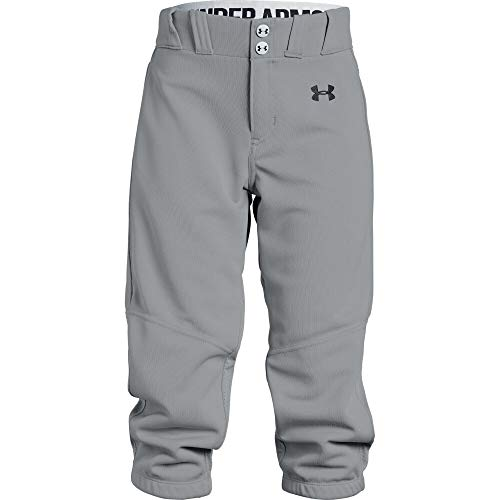 Under Armour Girls' Softball Pants, Baseball Gray (075)/Black, Youth Medium