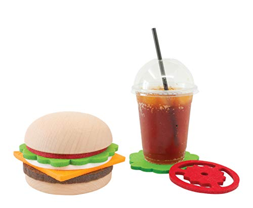 Beyond123 CP8082 Burger Seta Creative Novelty with a Practical use5 Coaster Pieces with Solid Wooden Rack Holder Large Multi